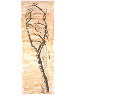 April Storm, 1998, woodcut, monotype on rice paper, mounted on etching paper, 90 x 225 cm