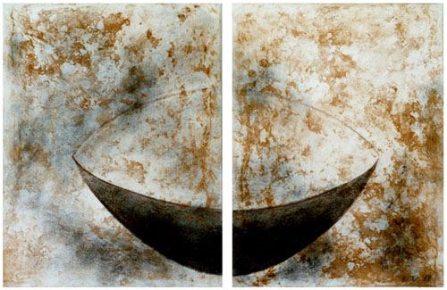 East=West, 1998, diptych, carborundum print, charcoal on paper mounted on canvas, 80 x 100 cm each