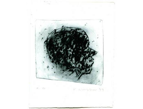 Hoofd, 1999, dry point, 16,5 x 21 cm
