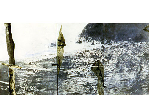 Poet's perspective, diptych, 1998, transfer print, woodcut, collage, acryl on rice paper mounted on canvas, 200 x 92 cm