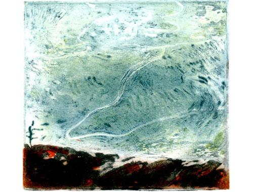 Sweeping landscape, edition, carborundum print, 25 x 33 cm