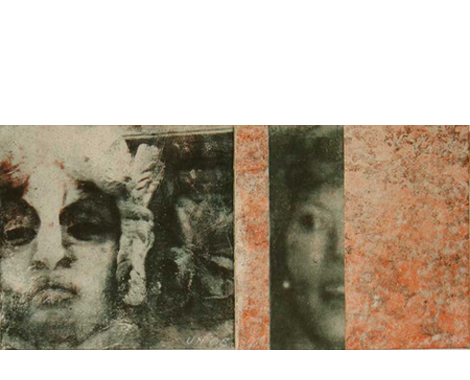 Enigma, 2005, transfer print on rice paper with sand, collage, mounted on canvas, diptych, 100 x 45 cm