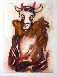 De grote verleider, 2012, carborundum print, gold pigment, collage, 57 x 76 cm