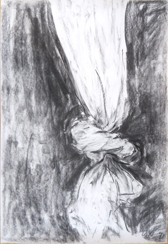 Knoop, 1998, charcoal drawing,