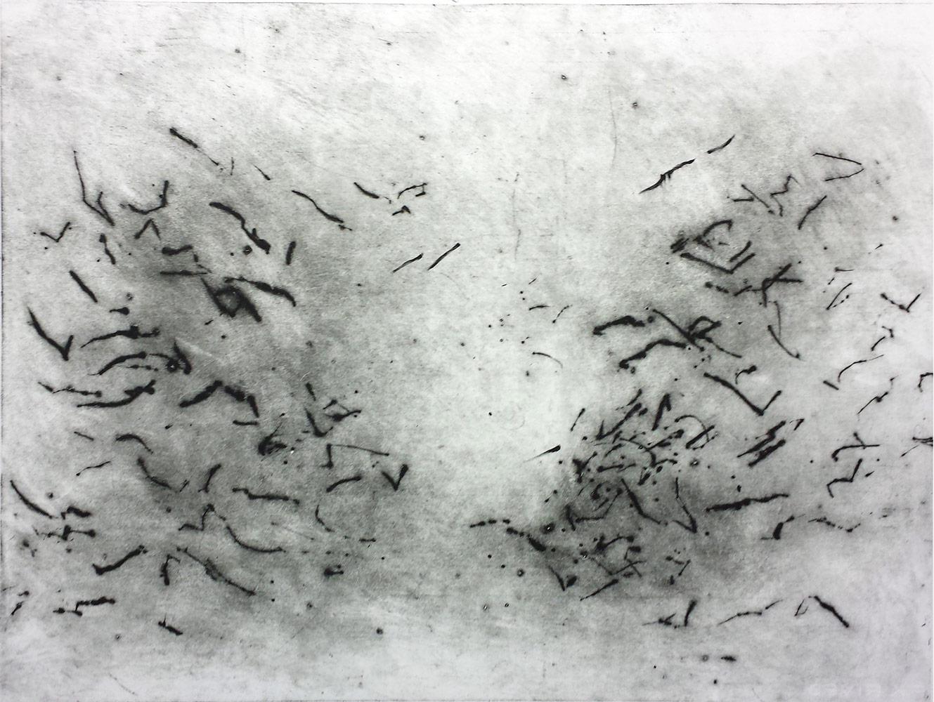 Nachtgedachten, 2016, dry point, 56 x 72 cm