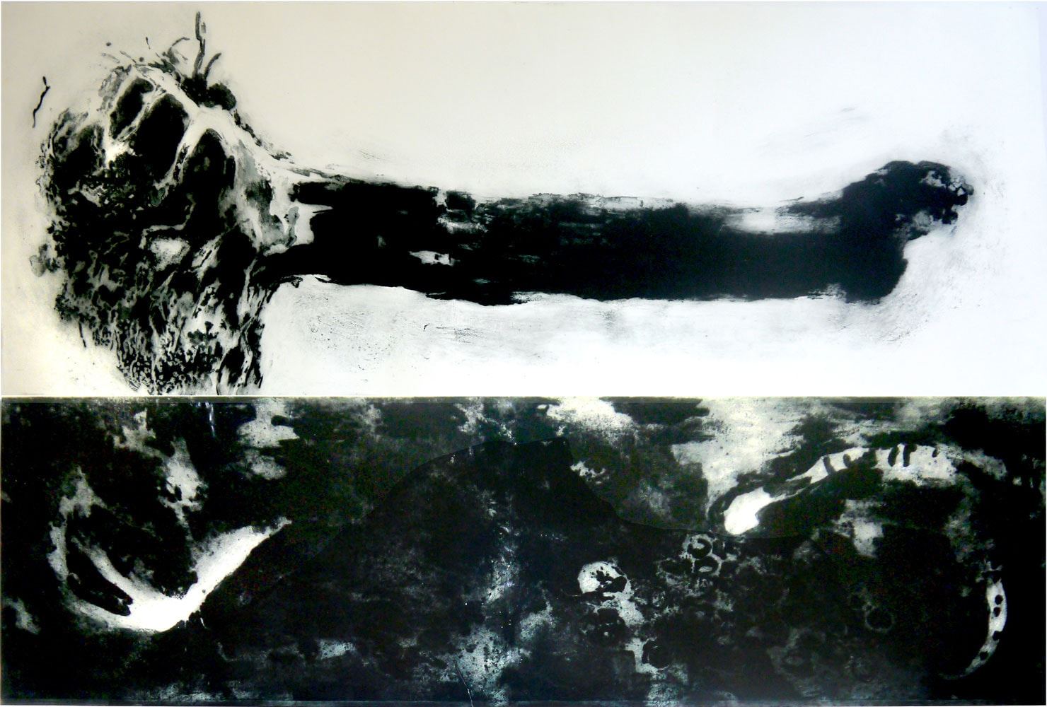 Ontworteld (bestrating), 2014, carborundum print 113 x 170 cm