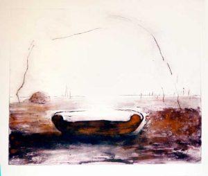 Open Horizon, 2011, carborundum print, gold pigment, drypoint, edition, 71 x 57 cm