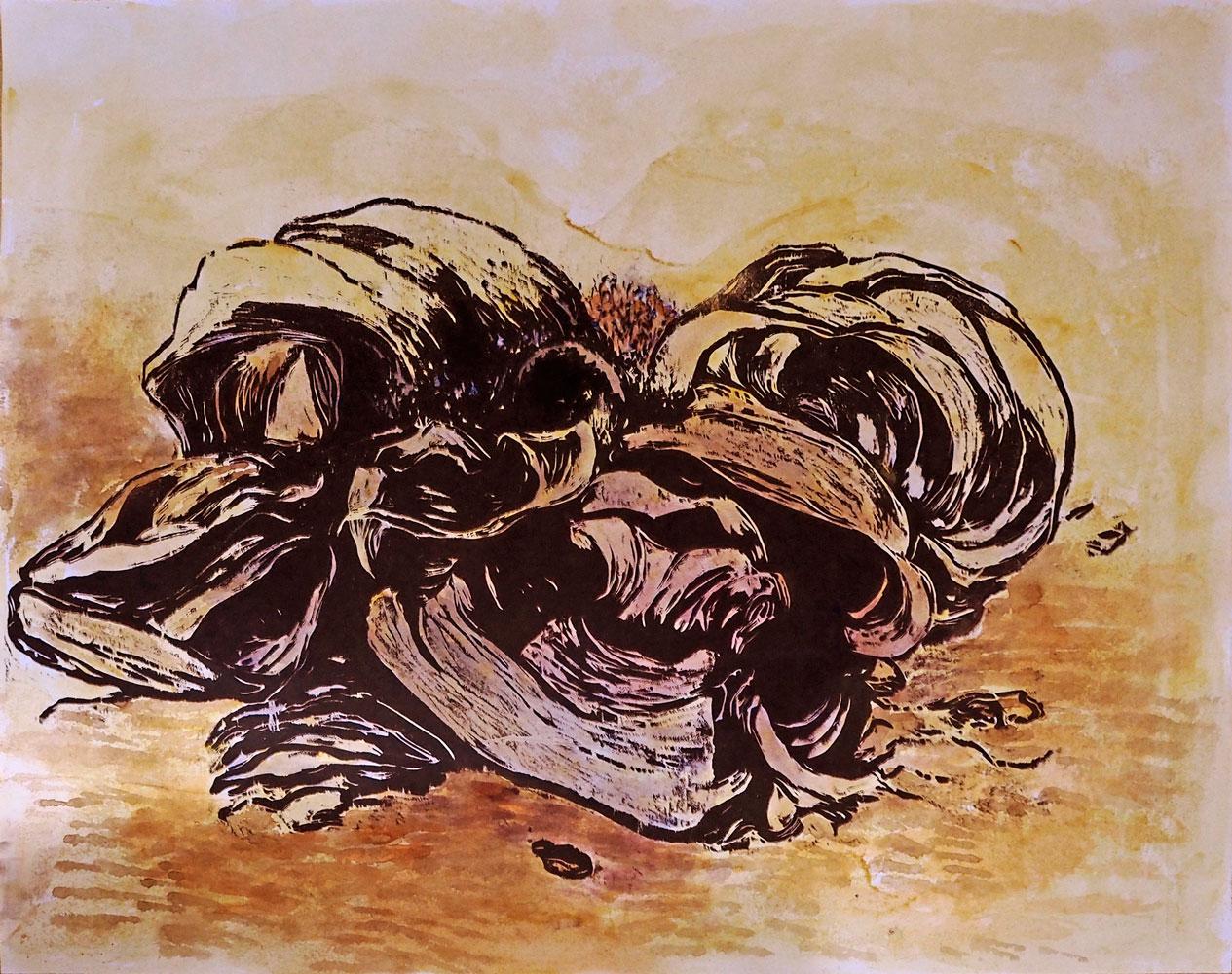 welwitschia II, 2019, carborundum print and acryl, 76 x 90 cm